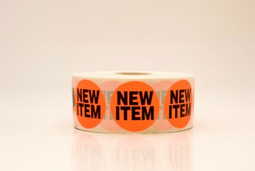 """1.5/"""" NEW ITEM Retail Price Point Label Sticker Circle Neon Red 1,000//Roll"""