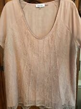 🌷Womens Calvin Klein Blouse Shirt Top Size XL Pale Pink Blush Lace Overlay