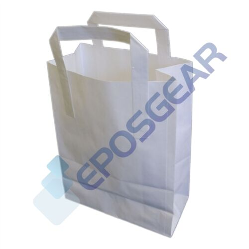 100 Large White SOS Kraft Takeaway Food Party Gift Paper Handle Carrier Bags