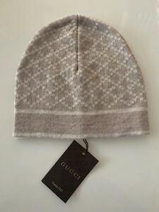 7eae3c764c6 Details about NEW GUCCI 100% AUTH WHITE BEIGE DIAMOND PRINT WOOL BEANIE HAT  ONE SIZE UNISEX