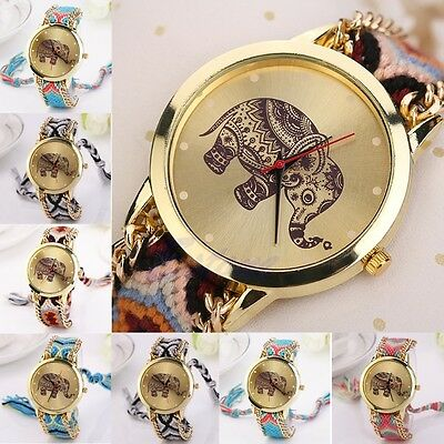 Women Stunning Elephant National Braid Analog Quartz Chain Bracelet Wrist Watch