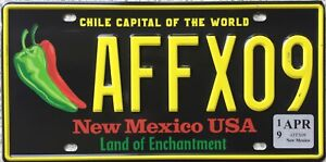 GENUINE-New-Mexico-Chile-Capital-of-World-Licence-License-Number-Plate-AFFX09
