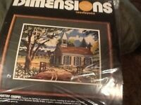 """VINTAGE NEW """"COUNTRY CHAPEL"""" DIMENSIONS #2249 NEEDLEPOINT KIT 1984 Craft Supplies"""
