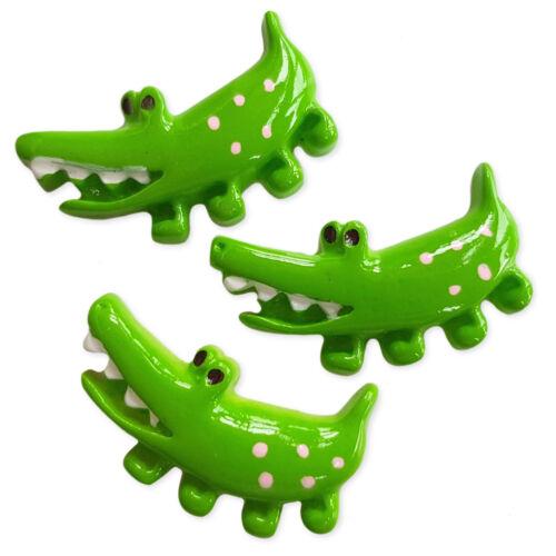 3pcs Crocodile Resin Kawaii Flatback Cabochons Embellishment Decoden Craft