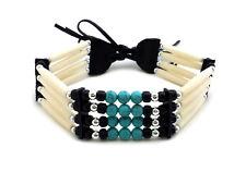Traditional Native American Style 4 Row Buffalo Bone Hairpipe Choker Necklace