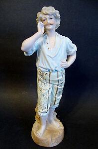 """Bisque Porcelain Figurine Hand Painted Enamel/gilt -*ahoy!* 11 7/8""""h 7152"""