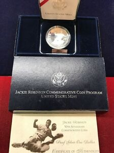 1997-S US Jackie Robinson 50th Anniversary Commemorative Proof Silver Dollar
