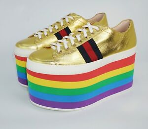 b8037ce83 Gucci Women's Peggy Metallic Leather Platform Sneakers, Gold/Rainbow ...