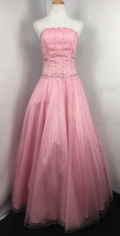 Pink Tulle Sequin Beaded  BALL GOWN PROM SWEET 16 DRESS ALYCE DESIGN 6 UNALTERED