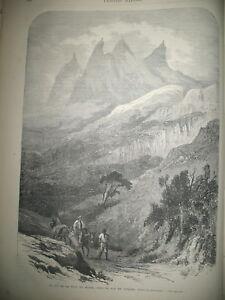 BRESIL-RIO-DE-JANEIRO-PIC-DE-LA-TETE-DU-MOINE-PAQUES-COMPOSITION-GRAVURES-1869