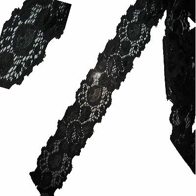 Black Stretch Lace Soft Black Lace Pretty Floral Lace 2 metre x 35mm wide DIY