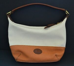 NEW-FOSSIL-TATE-SMALL-ORANGE-BROWN-LEATHER-CANVAS-HOBO-HAND-BAG-PURSE