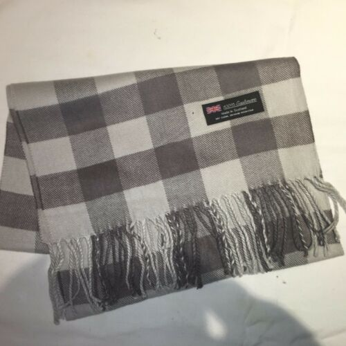100/% Cashmere Winter Scarf Scarve Scotland Warm Checkered Gray Grey Wrap Shawl