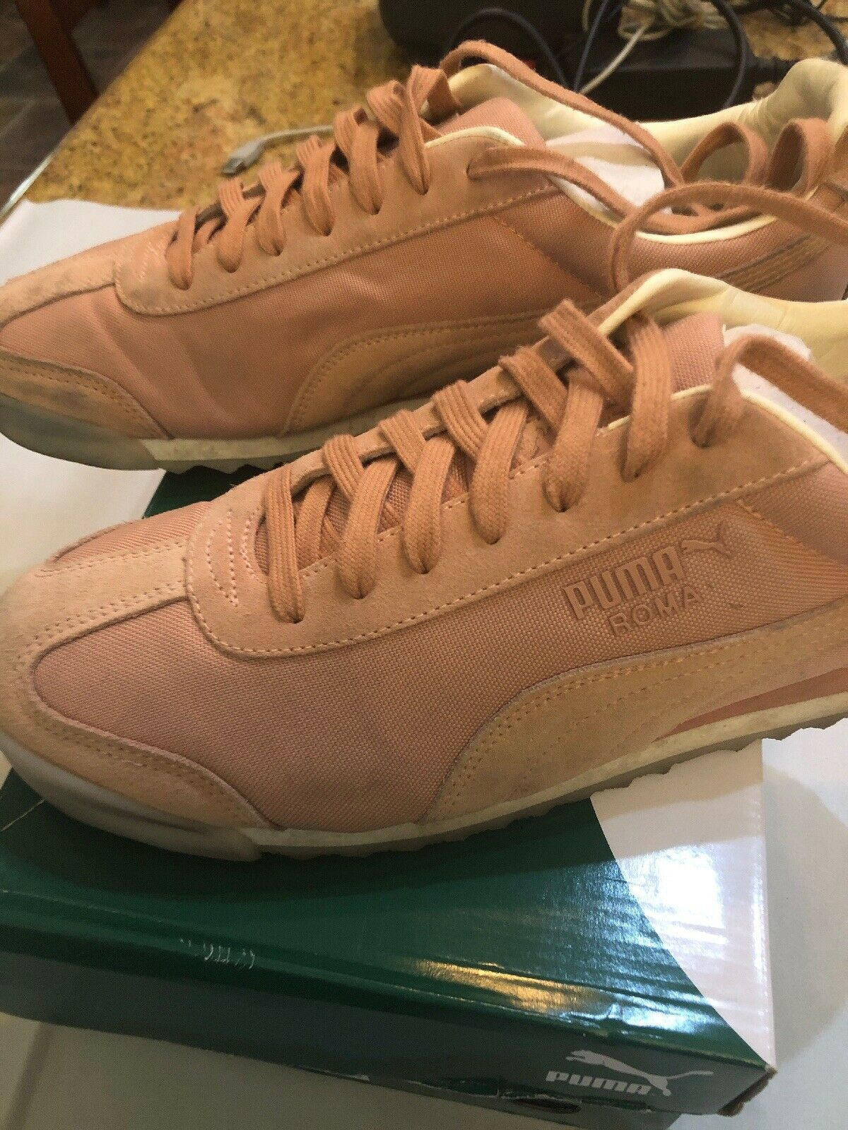 PO Puma Roma Summer Mens Pink Canvas Lace Up Sneakers shoes 10.5