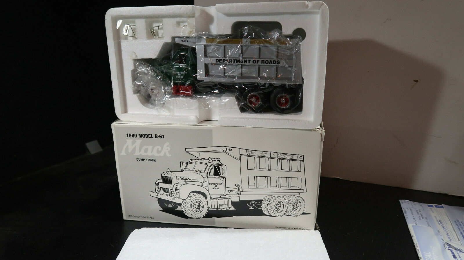 First Gear 1st 1960 Model B-61 mack Dump Truck Department of Roads UNUSED