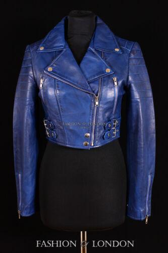 Onorevoli Vogue Blu Lavato Lambskin ritagliata Designer Biker REAL LEATHER JACKET