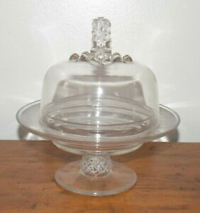 Antique-Pavonia-Pineapple-Ripley-US-Glass-Pedestal-Covered-Cheese-Stand