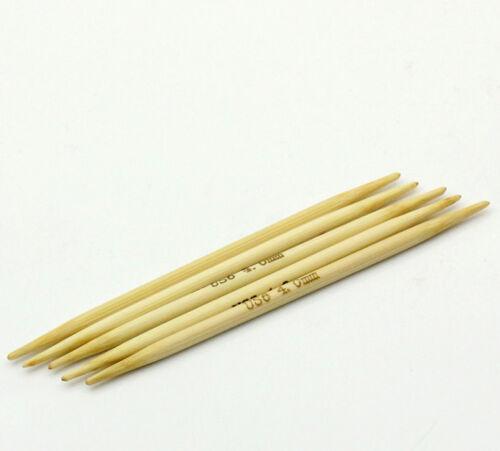 long de 10 cm bambou Aiguilles à tricoter naturel Double pointu 5PCs US Size 1-10