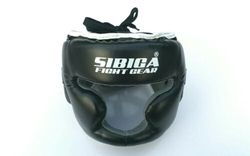 Sibiga Boxing head guard Black XS Kids Size Close Face Thai Boxing Kickboxing