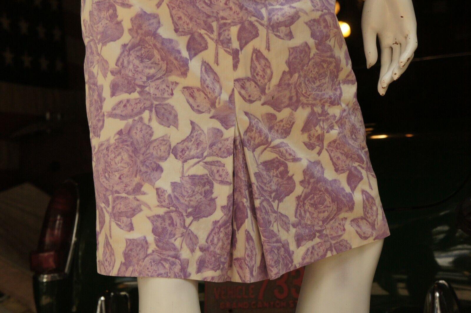 Vintage 50s Purple Floral Rose Print Dress Midi … - image 6