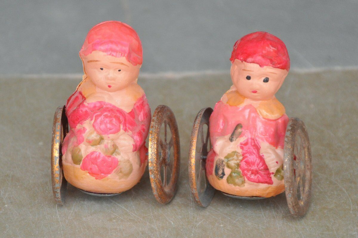 2 Pc Vintage colorful Celluloid Rolly - Polly Toy , Japan