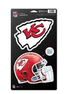 Kansas-City-Chiefs-grosses-Magnet-2-er-Set-NFL-Football-Team-Logo-und-Helm-Neu