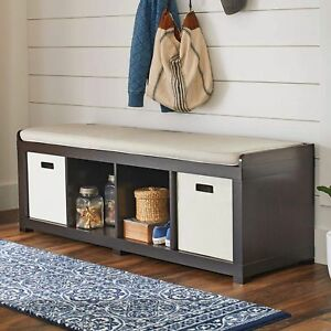 Fabulous Details About Entryway Hall Storage Bench Cushion Seat 4Cube Organizer Wood Furniture Espresso Andrewgaddart Wooden Chair Designs For Living Room Andrewgaddartcom