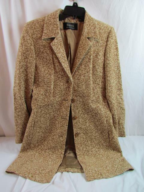Dana Buchman Brown Brocade Wool Lined Long Sleeve Button Down Light Coat Sz 4
