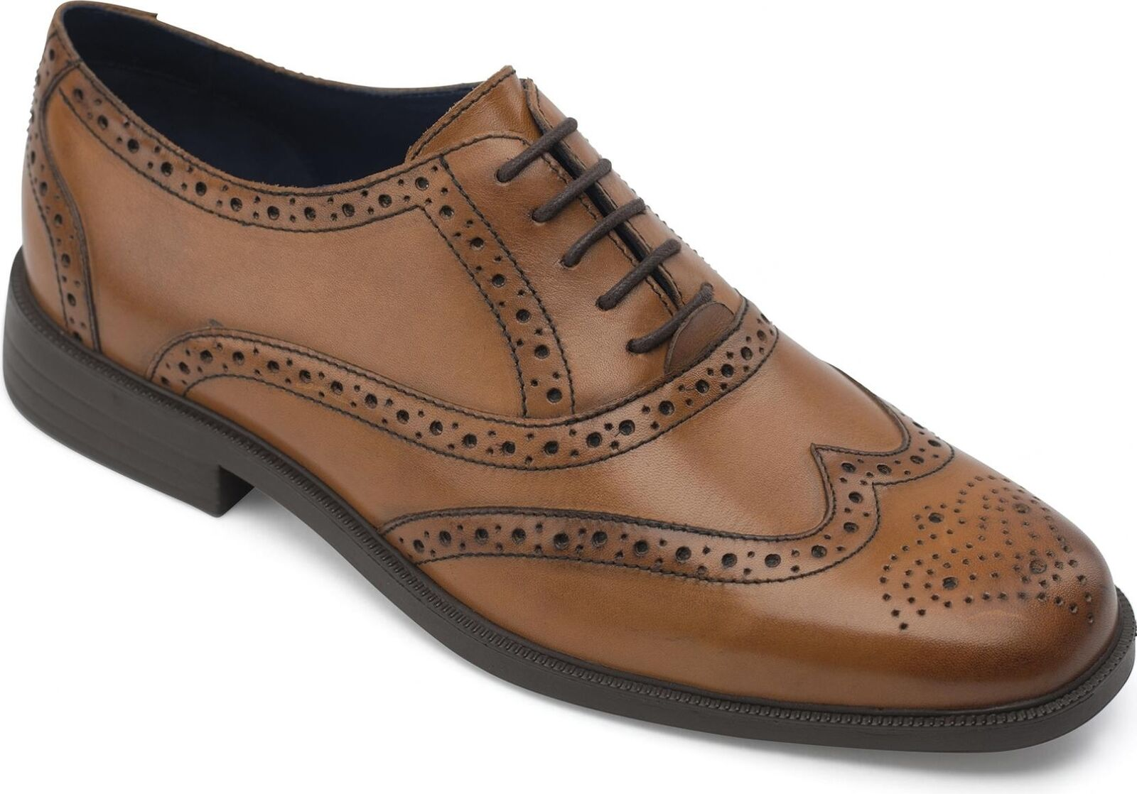 45dafa810ed31 Padders OXFORD Mens Leather Wide (G Fit) Oxford Brogue Office Smart shoes  Cognac