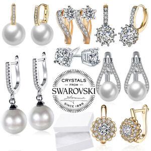 Silver-Hoop-Huggie-Earrings-Crystal-Star-Dangle-Drop-Women-Fashion-Jewelry