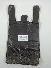 200 Qty Black Plastic T Shirt Retail Shopping Bags With Handles 8x5x16 Sm