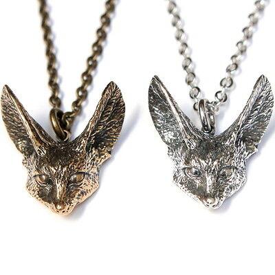 Fennec Fox Pendant Necklace in Silver or Bronze Desert Animal Sahara Africa 407