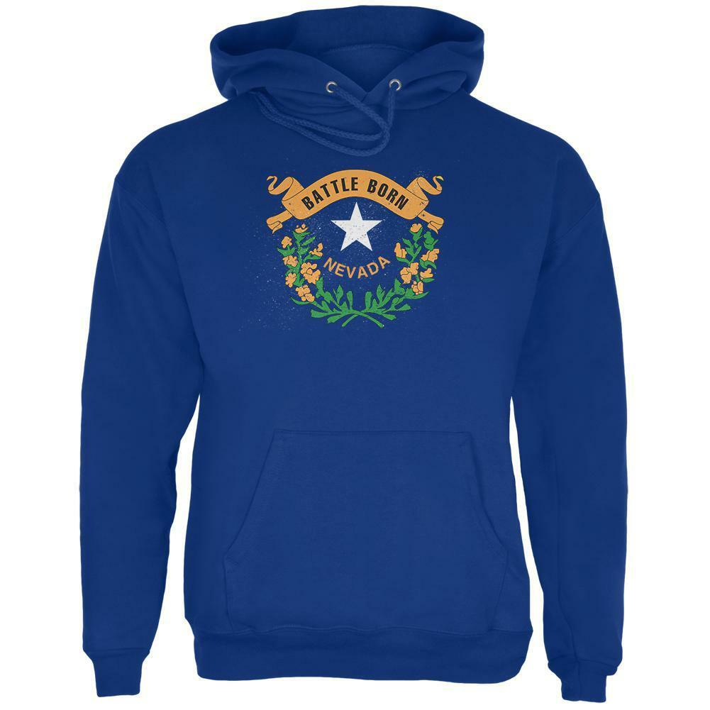 Born and Raised Nevada State Flag Mens Hoodie