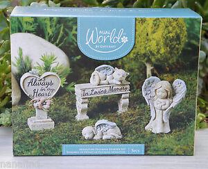 Miniature Dollhouse Fairy Garden 5 Pce Pet Memorial