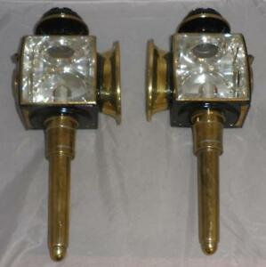 Details About Antique Pair Of Carriage Lamps Bevelled Gl English By Alfred Hales 1936