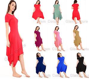 Womens-Hanky-Hem-Swing-Dress-Ladies-Flared-Long-Hanky-Dress