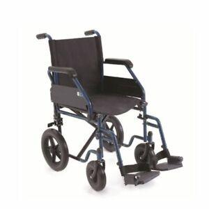 Carrozzina pieghevole da transito 40 cm. Sedia a rotelle per disabili e anziani