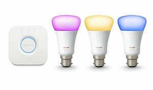 Philips-Hue-Colour-and-White-Ambiance-B22-LED-Starter-Kit-with-3x-9W-Bulbs-NEW