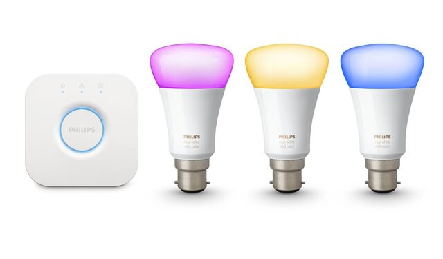 Philips Hue Colour and White Ambiance B22 LED Starter Kit with 3x 9W Bulbs