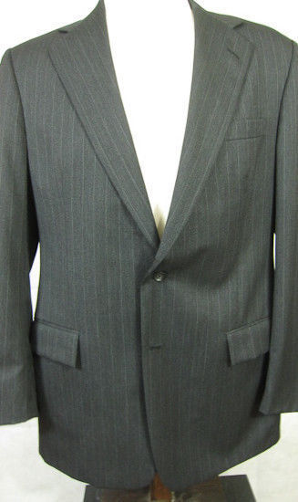 GORGEOUS Ralph Lauren Polo grau With Light Stripe  Wool Suit 42L Made in USA