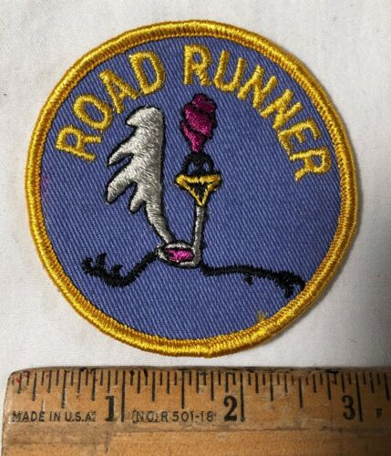 """Vintage Road Runner Embroidered Patch Looney Tunes Cartoon Plymouth 3"""" Round"""