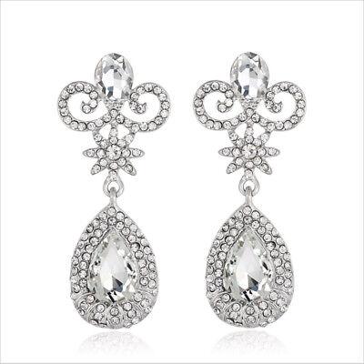 Daisy Clear Austrian Rhinestone Crystal Chandelier Dangle Earrings Prom Wed E10