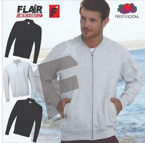 Fruit of The Loom Baseball Sweatshirt Jacket Men/'s Zipped Lightweight Raglan top