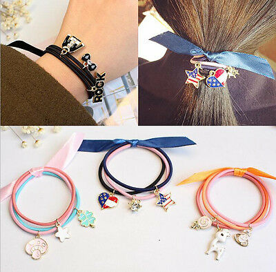 1Set Women Elastic Ribbon Bow Rope Ring Ponytail Holder Hairband Accessories New