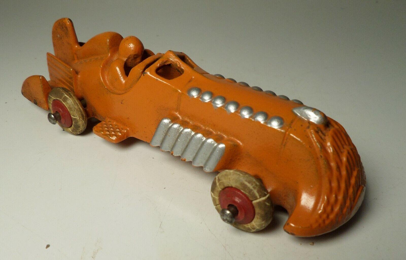 Vintage década de 1930 Hubley Naranja y Plata Barco De Hierro Fundido Cola Racer Con Driver