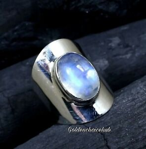 Solid-925-Sterling-Silver-Band-amp-Moonstone-Ring-Handmade-Ring-All-size-vi-132