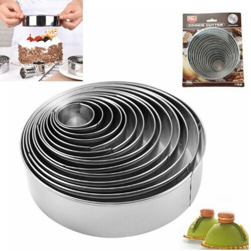 14pcs Metal Round Cookie Biscuit Cutter Set Pastry Circle Baking Ring Molds