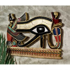 Egyptian-Eye-Of-Horus-Design-Toscano-Hand-Painted-Wall-Sculpture