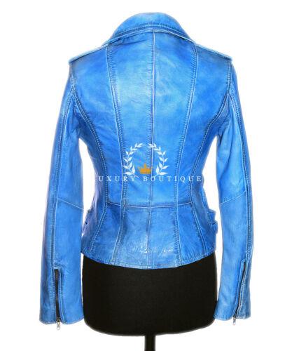Black Jessie Mouton Veste En Chic De Pour Doux Blue Rock Biker Cuir Femmes aagr1