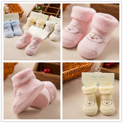 Baby Winter Autumn Warm Socks Soft Thick Cotton Terry Newborn Kids Sock Booties